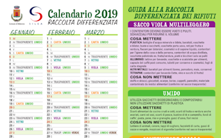 calebdario raccolta differenziata 2019